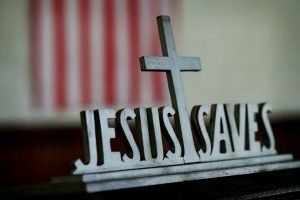 Jesus Saves sign in an old church in Indiana.
